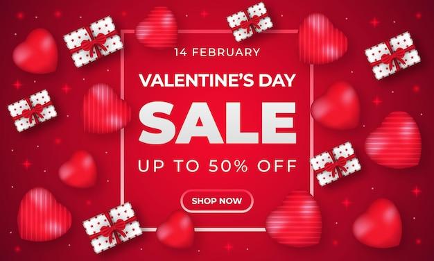 Шаблон баннера продажи дня святого валентина с сердцем