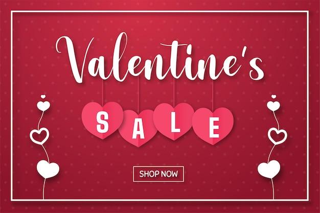 Шаблон распродажи ко дню святого валентина с сердечками