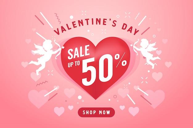 Valentine's day sale banner template.