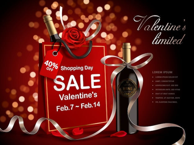 Valentine's day sale banner, wine bottle with ribbons in red paper bag isolated