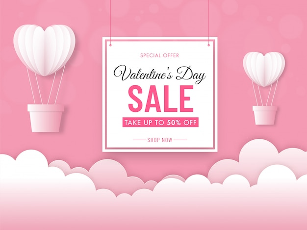 Valentine's day sale banner with 50% discount offer