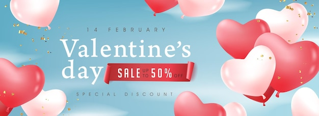 Valentine's day sale banner with balloons.