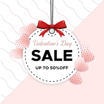 Valentine's day sale banner with flat design and love balloon