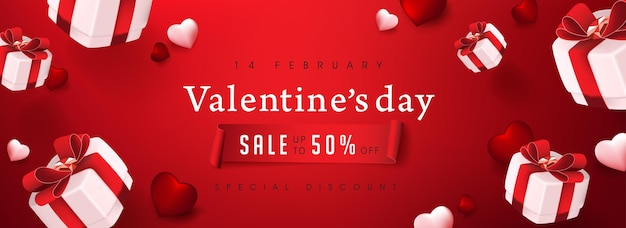 Valentine's day sale banner with gift box and heart.
