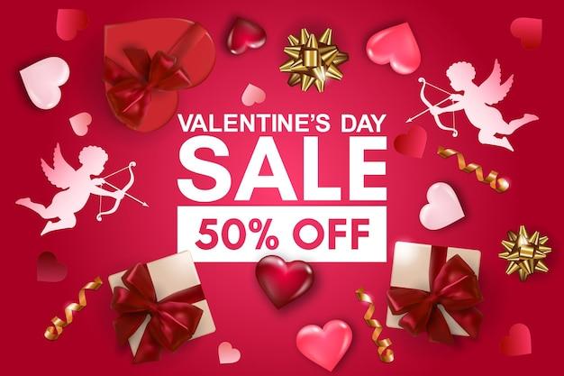 День святого валентина распродажа баннер с подарочной коробкой, бумажным купидоном, объемными сердцами и бантами.