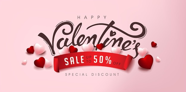 Valentine's day sale banner with heart and calligraphy of valentine's.