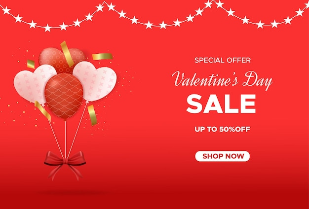 Valentine's day sale banner with love balloons