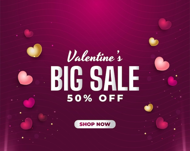 사랑 글자, 3d 및 다채로운 마음으로 발렌타인 판매 배너