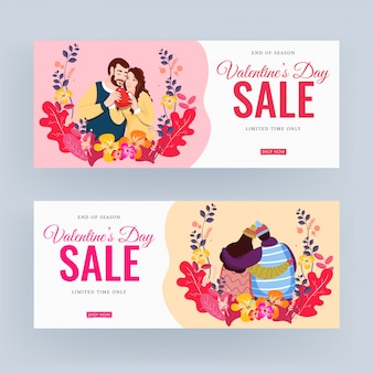 Valentine's day sale banner with lover couple character and floral
