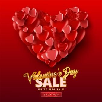 붉은 색 바탕에 많은 달콤한 마음으로 발렌타인 판매 배너. 프로모션 및 쇼핑 템플릿 또는 사랑과 발렌타인 데이.