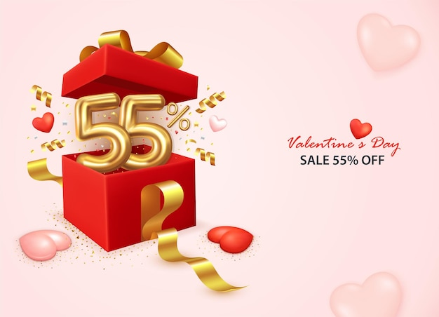 Valentine's day sale banner with open gift box