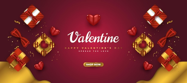 현실적인 선물 상자와 반짝이 골드 색종이와 발렌타인 판매 배너