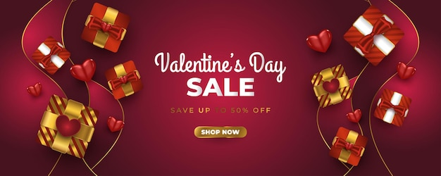 Valentine's day sale banner with realistic gift box, red hearts and glitter gold confetti