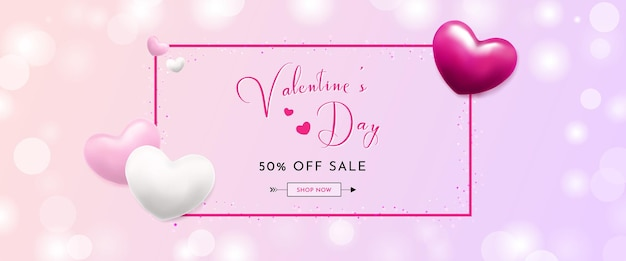 Valentine's day sale banner with realistic hearts