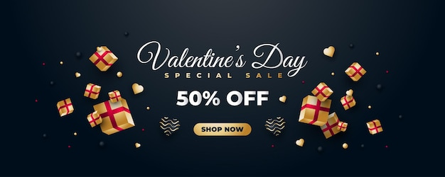 흩어져있는 황금 선물 상자와 하트 발렌타인 데이 판매 배너