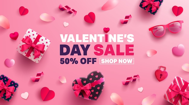 Valentine's day sale banner with sweet gift,sweet heart and lovely items
