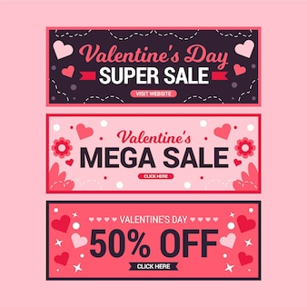 Valentine's day sale banners collection
