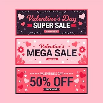 Collezione di banner di vendita di san valentino
