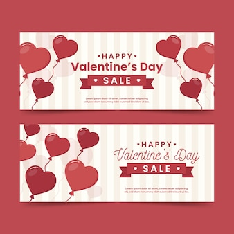 Valentine's day sale banners in flat design