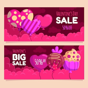 Valentine's day sale banners flat design