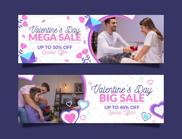 Valentine's day sale banners set