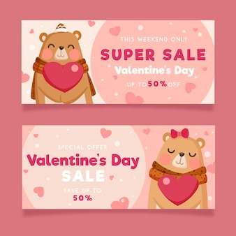 Valentine's day sale banners with bears