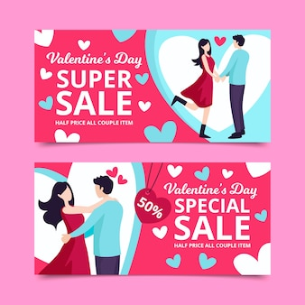 Valentine's day sale banners with couplewith