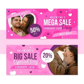Banner di vendita di san valentino con sconto