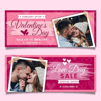 Valentine's day sale banners with discount