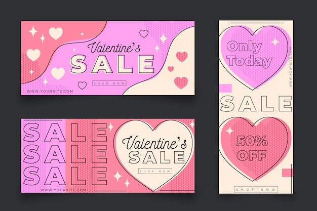 Valentine's day sale banners with offer
