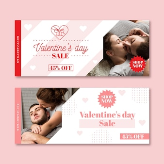Valentine's day sale banners with photo