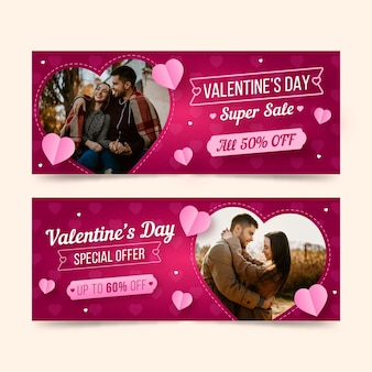 Valentine's day sale banners with special offer