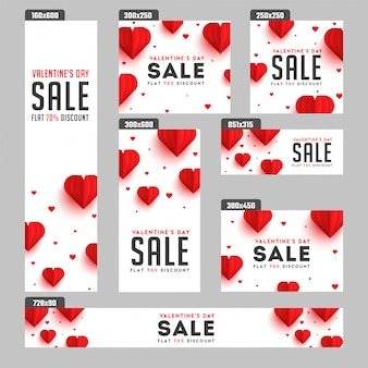 Valentine's day sale banners.