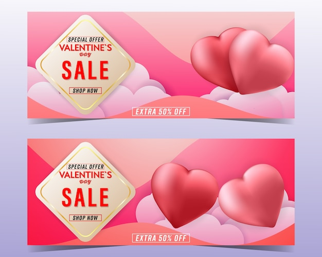 Valentine's day sale colorful background banner set