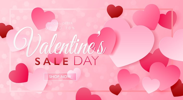 Valentine's day sale concept banner with pink heart paper craft and frame on pink bokeh background