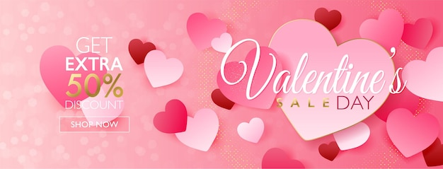Valentine's day sale concept banner with pink heart paper craft on pink bokeh background