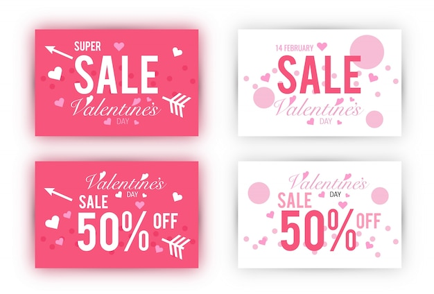 Valentine's day sale coupon template set.