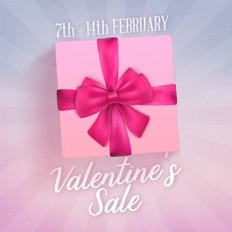 Valentine's day sale design with realistic gift box