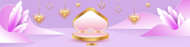 Valentine's day sale. empty podiums, pedestals or platforms. gift box in heart shape. heart shaped gold necklaces.