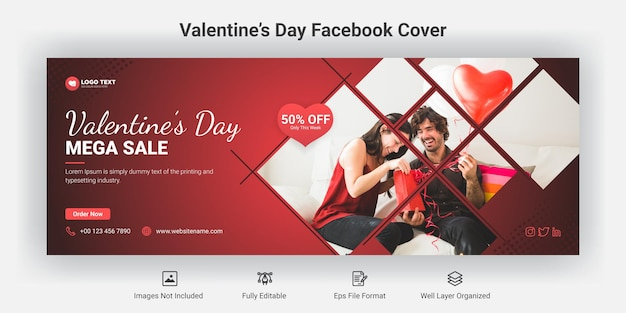 Valentine's day sale facebook cover banner