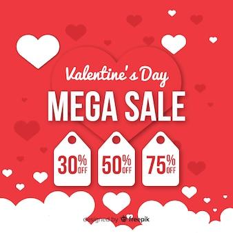 Valentine's day sale flat background