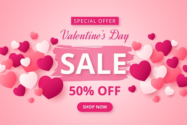 Valentine's day sale in flat design