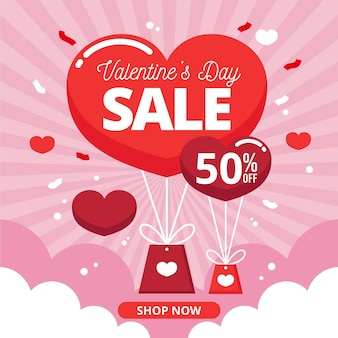 Valentine's day sale in flat design