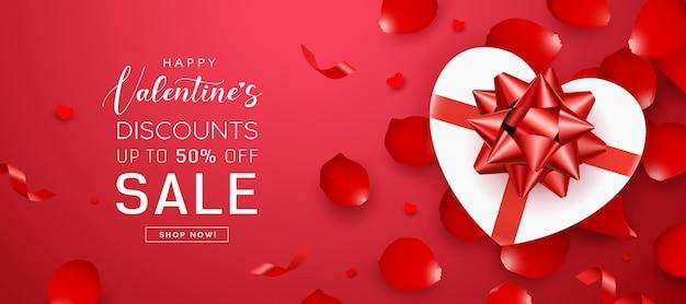 발렌타인 데이 판매, 선물 상자 하트 모양 붉은 나비 리본