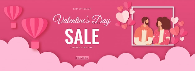 Valentine's day sale header or banner design with faceless lover couple character