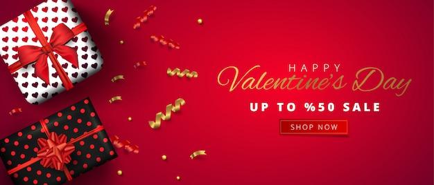 バレンタインセール水平バナー。現実的なギフトボックスと赤の背景に紙吹雪のイラスト。プロモーション割引バナー。