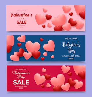 Valentine's day sale horizontal banners