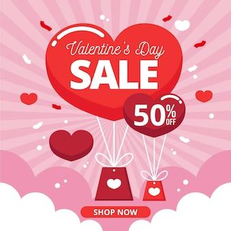 평면 디자인의 발렌타인 데이 판매
