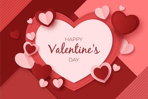 Распродажа ко дню святого валентина в бумажном стиле с сердечками