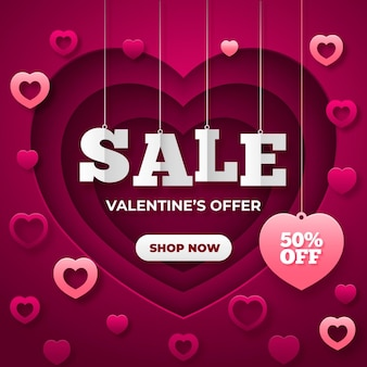 Распродажа ко дню святого валентина в бумажном стиле